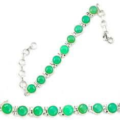 Natural green chrysoprase 925 sterling silver tennis bracelet jewelry d13313