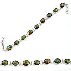 Clearance Sale- Natural multi color ammolite (canadian) 925 silver tennis bracelet d13393