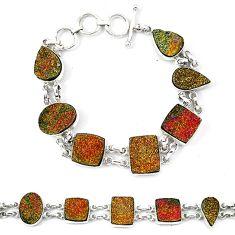Golden druzy fancy 925 sterling silver bracelet jewelry d13822