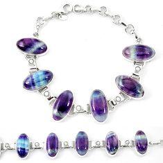 Natural multi color fluorite pearl 925 sterling silver bracelet d13825