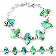 Natural green abalone paua seashell white pearl 925 silver bracelet d13828