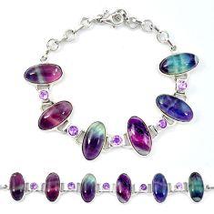 Natural multi color fluorite 925 sterling silver bracelet jewelry d13831