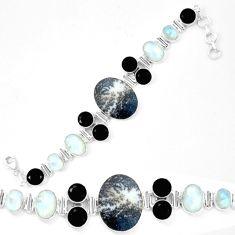 Natural scenic russian dendritic agate moonstone 925 silver bracelet d13835