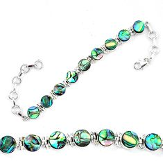 Natural green abalone paua seashell 925 sterling silver tennis bracelet d13855