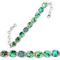 Natural green abalone paua seashell 925 sterling silver tennis bracelet d13857