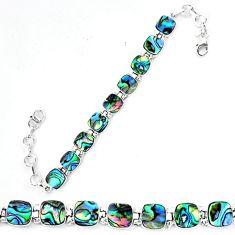 925 sterling silver natural green abalone paua seashell tennis bracelet d13858