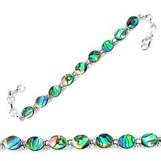 Natural green abalone paua seashell 925 sterling silver tennis bracelet d13860