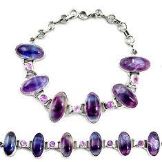 Natural multi color fluorite amethyst 925 silver tennis bracelet d17957