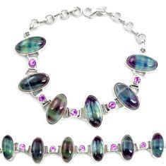 Natural multi color fluorite amethyst 925 silver tennis bracelet d17959