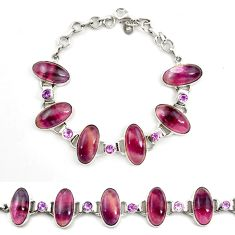 Natural multi color fluorite amethyst 925 silver tennis bracelet d17968
