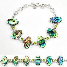 925 silver natural green abalone paua seashell peridot tennis bracelet d17970