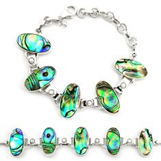 Natural green abalone paua seashell pearl 925 silver tennis bracelet d17972