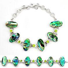 925 silver natural green abalone paua seashell peridot tennis bracelet d17974