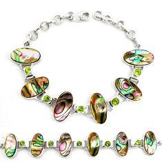 Natural green abalone paua seashell peridot 925 silver tennis bracelet d17975