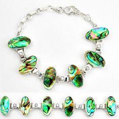 Natural green abalone paua seashell pearl 925 silver tennis bracelet d17978