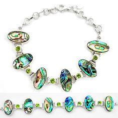 Natural green abalone paua seashell peridot 925 silver tennis bracelet d17979