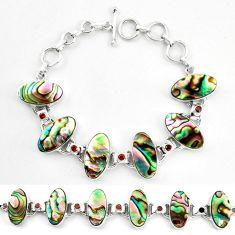 925 silver natural green abalone paua seashell garnet tennis bracelet d17980