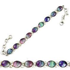 Natural multi color fluorite 925 sterling silver tennis bracelet jewelry d18030