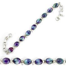 Natural multi color fluorite 925 sterling silver tennis bracelet jewelry d18032