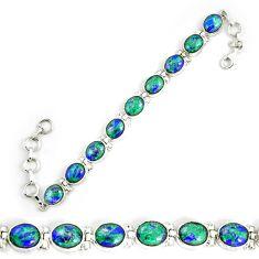 Natural green malachite in azurite 925 sterling silver tennis bracelet d18033