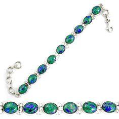 Natural green malachite in azurite 925 sterling silver tennis bracelet d18034