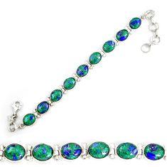 925 sterling silver natural green malachite in azurite tennis bracelet d18035