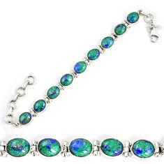 Natural green malachite in azurite 925 sterling silver tennis bracelet d18036