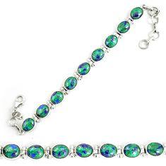 Natural green malachite in azurite 925 sterling silver tennis bracelet d18038