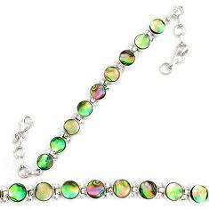 925 sterling silver natural green abalone paua seashell tennis bracelet d18040