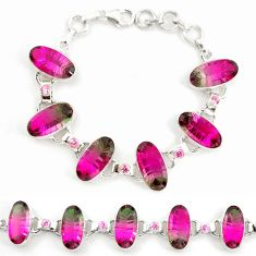 Watermelon tourmaline (lab) tourmaline (lab) 925 silver tennis bracelet d18042
