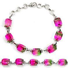 Watermelon tourmaline (lab) 925 sterling silver tennis bracelet jewelry d18043