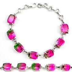 925 sterling silver watermelon tourmaline (lab) tennis bracelet jewelry d18044