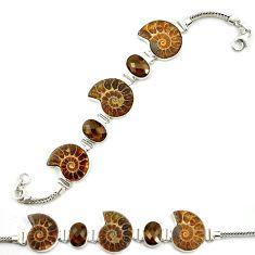 Natural brown ammonite fossil smoky topaz 925 silver tennis bracelet d18056