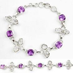 Natural purple amethyst herkimer diamond 925 silver tennis bracelet d18063