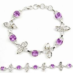 925 silver natural purple amethyst herkimer diamond tennis bracelet d18064