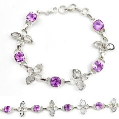Natural purple amethyst herkimer diamond 925 silver tennis bracelet d18065