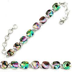 Natural green abalone paua seashell 925 sterling silver tennis bracelet d18068