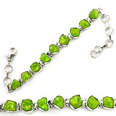 925 sterling silver natural green peridot rough tennis bracelet jewelry d18069