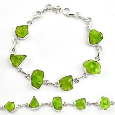 Natural green peridot rough 925 sterling silver tennis bracelet jewelry d18070