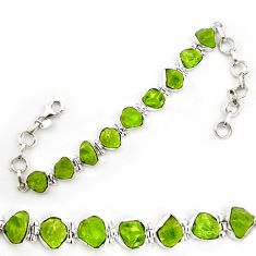 Natural green peridot rough 925 sterling silver tennis bracelet jewelry d18071