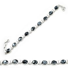 Clearance Sale- Natural black australian obsidian 925 sterling silver tennis bracelet d20317