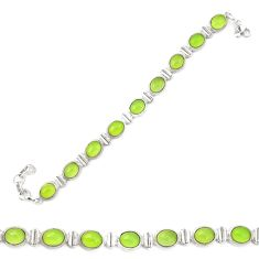 Natural green prehnite 925 sterling silver tennis bracelet jewelry d20326