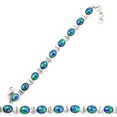 Natural green azurite malachite 925 sterling silver tennis bracelet d20457