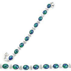 Natural green azurite malachite 925 sterling silver tennis bracelet d20459