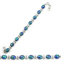 Natural green azurite malachite 925 sterling silver tennis bracelet d20460