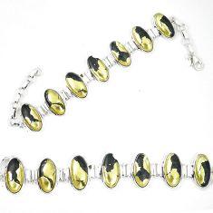 Natural golden pyrite in magnetite (healer's gold) 925 silver bracelet d23914