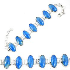 Natural blue shattuckite 925 sterling silver bracelet jewelry d23916