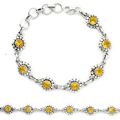 925 sterling silver natural yellow citrine tennis bracelet jewelry d23932