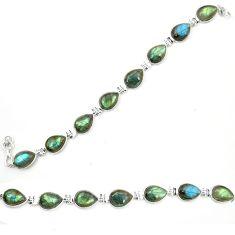 Natural blue labradorite 925 sterling silver tennis bracelet jewelry d23952