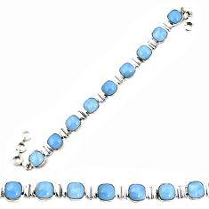 Natural blue owyhee opal 925 sterling silver tennis bracelet jewelry d25446